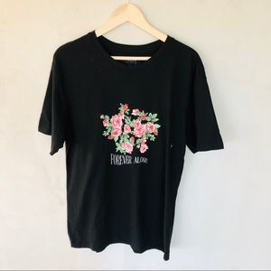 PACSUN • Forever alone black floral T-shirt